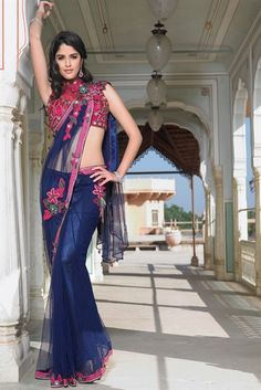 Refreshing navy blue net saree with combination of pink