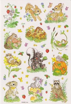 WOODLAND CRITTERS STICKER SHEET | DESIGNED BY LINDA K POWELL | AMERICAN GREETINGS