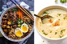 15 Delicous Soups That'll Make You Feel Cozy This Fall | Spicy crab gumbo and chicken pot pie soup (serve with puff pastry crackers)