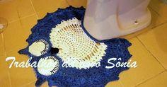 Cj p/ banheiro coruja dorminhoca bco/azul - tapete p/ vaso - crochê