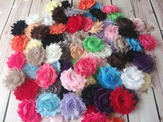 80 Shabby Flowers,Chiffon Flower trim multipack bag of 20 different colors,DIY supplies,Shabby flowers,Baby Headbands,Business Starter Kit on Etsy, $20.00