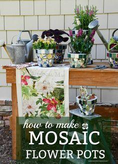 DIY Mosaic Flower Pot Tutorial | ©homieswheretheboatis.net #flowers #garden #DIY #mosaic Mosaic Projects, Craft Projects, Garden Projects, Craft Ideas, Garden Ideas, Decor Ideas, Mosaic Flower Pots, Mosaic Pots, Mosaic Garden