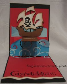 Pop N Cut dress form, Cuttlebug dies & Stampin Up stamps used to make a pirate pop up complete with plank!