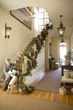 ღღ simply gorgeous! ~~~ Stairs, Bannister gardland, P. Allen Smith, Moss Mountain Farm