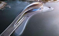 L & A Design Group's Footbridge Features an Artificial Island #bridge #architecture trendhunter.com