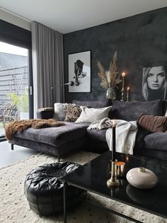 Home Remodel Living Room .Home Remodel Living Room Dark Living Rooms, Living Room Decor Cozy, Room Decor Bedroom, Home Living Room, Apartment Living, Interior Design Living Room, Living Room Designs, Black Living Room Furniture, Small Living