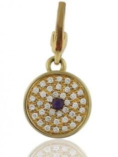 Asprey Button Pendant in yellow gold.