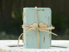 Anillo portador boda caja almohada alternativos angustiados de madera verde mar Shabby Chic rústico