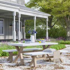 3 Piece Dining Set, Outdoor Furniture Sets, Outdoor Decor, Sustainability, Concrete, Hardwood, Pergola, Dining Table, It Is Finished