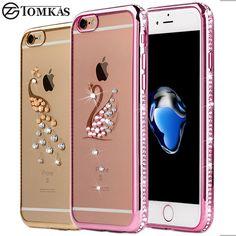 Strass case für iphone 7/7 plus silikon glitter diamant transparente abdeckung für iphone 7 plus handytasche fällen coque luxus