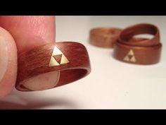 How to make Wood Rings - bent veneer w brass Zelda Triforce inlay - YouTube