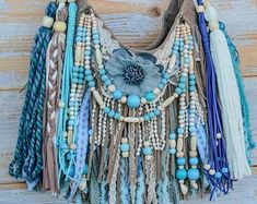 Boho Hippie, Look Hippie Chic, Hippie Purse, Blue Tapestry, Tapestry Bag, Fringe Handbags, Fringe Bags, Gypsy Bag, Lace Bag