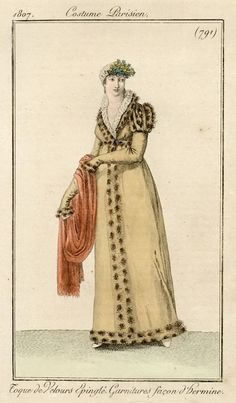 The woman pictured is wearing a redingote styled coat which was originally in men's wear,but later inspired women's wear garments.