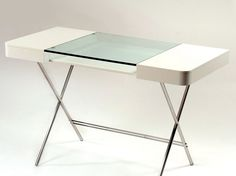 Wood writing desk with drawers and glass top COSIMO LAQUÉ BLANC MAT by Adentro | design Marco Zanuso