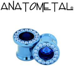 """- Super Gemmed Eyelets - ANATOMETAL - Professional Grade Body Piercing Jewelry ~ Materials: Stainless Steel - Titanium -                  18k Gold  Sizes: from 2ga to 1""""  Gem cuts: Faceted - Cabochon    Wearable surface:  Single Flare: .335In (8.5mm)  Double Flare: .375In (9.5mm"""