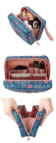 Your next trip will be much more enjoyable with the Large Journey Organizer Pouch! This pouch has a cool and stylish design, and two zipper pulls to open the main compartment. The main compartment has a divider and many pockets in various size to carry and organize your items with ease! This pouch will be perfect for neatly organizing your belongings on your travel! Organizing, Organization, Diy Bags, Packing Lists, Zipper Pulls, Madness, Traveling By Yourself, Stationary, Panda