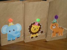 Animal Zoo Birthday Party Favor/Treat bags - Set of 15 on Etsy, $30.00 I like the idea of the animals with party hats