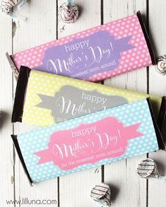 Free Mother's Day Printables Your Mom Will LOVE! Printables in Documents as HappyMothersDayCandyBarWrappers-PINK; HappyMothersDayCandyBarWrappers-GRAY; HappyMothersDayCandyBarWrappers-AQUA-700x700; HappyMothersDayCandyBarWrappers-LIGHT-PINK; and HappyMothersDayCandyBarWrappers-YELLOW-700x700