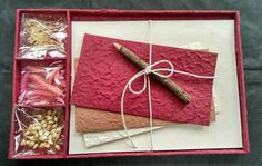 For those Red Letter Days ;) Gift Set - DIY Letter/Writing Stationery Set/Handmade Mulberry Paper/X mas/Red