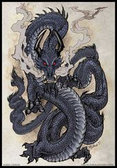 Man has always been inspired by dragons. As well as statues, many artists have desired to capture the essence of living dragons. But pictures fail to truly express what it is to be in a living dragon's presence. Japanese Dragon Tattoos, Japanese Tattoo Art, Japanese Art, Fantasy Dragon, Fantasy Art, Fantasy Creatures, Mythical Creatures, Dragons, Japon Illustration