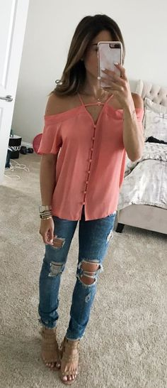 """#summer #outfits Scooped Up These Ripped Jeans (come In Short And Long Lengths For All My Shorties!) A Lot Of Y'all Probably Don't Know I'm Only 5'1"""", So I Need All The Help I Can Get These Are On Sale Right Now + My Top Is Under $40 (wearing S)"""