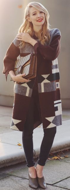 Ooh Couture 3/4 Sleeve Ethno Pattern Cardigan Fall Street Style Inspo