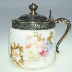Mt Washington Crown Milano Marmalade With Pale Flowers And Gold Scrolling. 3 3/4 Inch HOA.