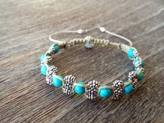 Turquoise Bracelet-Beautiful Hand woven turquoise bead bracelet with drawstring. Only £12!