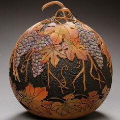 Image detail for -Hand Carved Gourd Gallery – Marilyn Sunderland Gourd Art - carving Decorative Gourds, Hand Painted Gourds, Creative Pumpkins, Muse Art, Art Carved, Gourd Art, Nature Crafts, Dremel, Pyrography