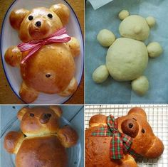 Culinary school How to cook honey vanilla teddy bear challah step by step DIY tutorial instructions , How to, how to do, diy instructions, c by Mary Smith fSesz Cute Food, Good Food, Bread Art, Bread Food, Bread Shaping, Bear Party, Food Decoration, Challah, Food Humor
