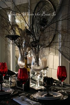 Halloween decorating ideas - painted sticks with the birds - opulent dinner table
