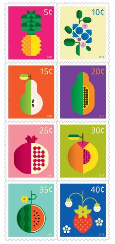 Fruit Stamps by Christopher Dina. The bright colors and simple shapes of this design caught my eye. It reminds me of the Pop Art Era, specifically of the pop artist Andy Warhol. It is clean and modern with a fun twist on 1960s art. The fact that the subject of the design is an everyday object adds to the simplicity and allows the eye to more appreciate the bright colors. Therefore, color is the most prominent design choice in this work.