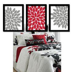 Wall Art Canvas Artwork Red Black Gray Flower Burst by trmDesign Gray Bathroom Walls, Red Bathroom Decor, Bathroom Artwork, White Bathroom, Red Black Bedrooms, Red Rooms, Home Bedroom, Bedroom Decor, Bedroom Wall