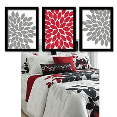 grey floral art with red | Red Black Gray Flower Burst Dahlia Bloom Artwork Set of 3 Trio Prints ...  Great  idea to make to compliment your bedspread