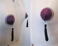 Purple real leather nipple tassels/pasties