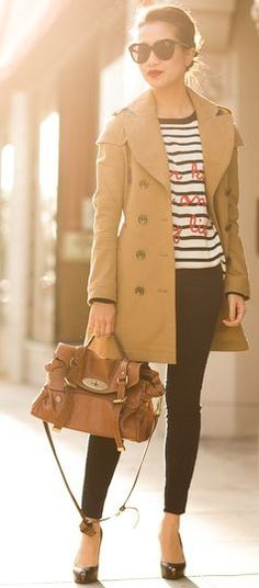 Art Of The Trench :: Leather Trimmed Jacket & Casual Stripes by Wendy's Lookbook