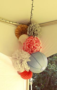 Outdoor wedding decor! with black and white colors.. I would mix paper flowers and lanterns