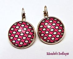 Groovy Pink and White Polka Dots Earrings in by rhondiesboutique, $10.00