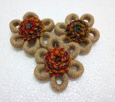Indian Jute/ burlap /hemp  Flower Appliques / by uDazzleSupplies,