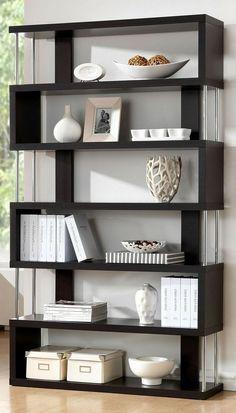 Barnes Dark Wenge 6 Shelf Modern Bookcase: