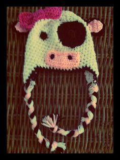 Cow Beanie by TheLovelyyarns on Etsy, $20.00