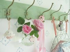 Wall hooks and roses - pink and green