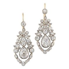 Fine Pair of Late Georgian Diamond Earrings Circa 1830 | From a unique collection of vintage chandelier earrings at https://www.1stdibs.com/jewelry/earrings/chandelier-earrings/