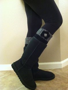 MADE to ORDER -  Boot Cuff - Boot Topper, Gray and Black cuff with Black bottom via Etsy