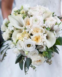 All-White Wedding Bouquet with Roses and Lilies / Frederick Maryland Wedding Photographer Wendy Zook Photography