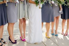 I LOVE this...multiple hues of gray with different colored shoes. We could match flowers to shoes! SO COOL.