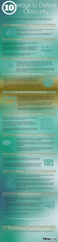 10 Ways to Defeat Obscurity: Tips for Authors Who Want to Get Noticed (Infographic)