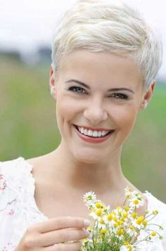 Bleached Blonde Pixie Hairstyle for Women
