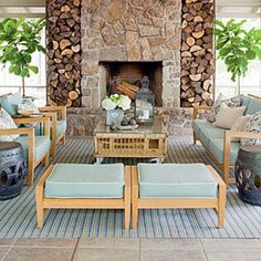 Glowing Outdoor Fireplace ideas: Bring Warmth to the Pool House