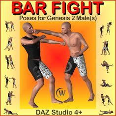 Bar fight Poses for Genesis 2 Males - $9.95 : When a fight breaks out in your favorite drinking establishment, your instincts tell you that your only two choices are fight or flight; which will you choose? Designed for the Genesis-2-Male (G2M) figure, this set of 24 paired and 3 single poses should work with all of the Genesis 2 Male based Characters* for a total of 54 poses. Read more: http://fantasiesrealm.com/market/-Designers/Winterbrose/Bar-fight-Poses-for-Genesis-2-Males